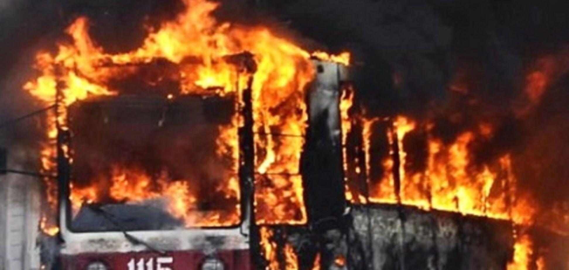 В Днепре горел трамвай