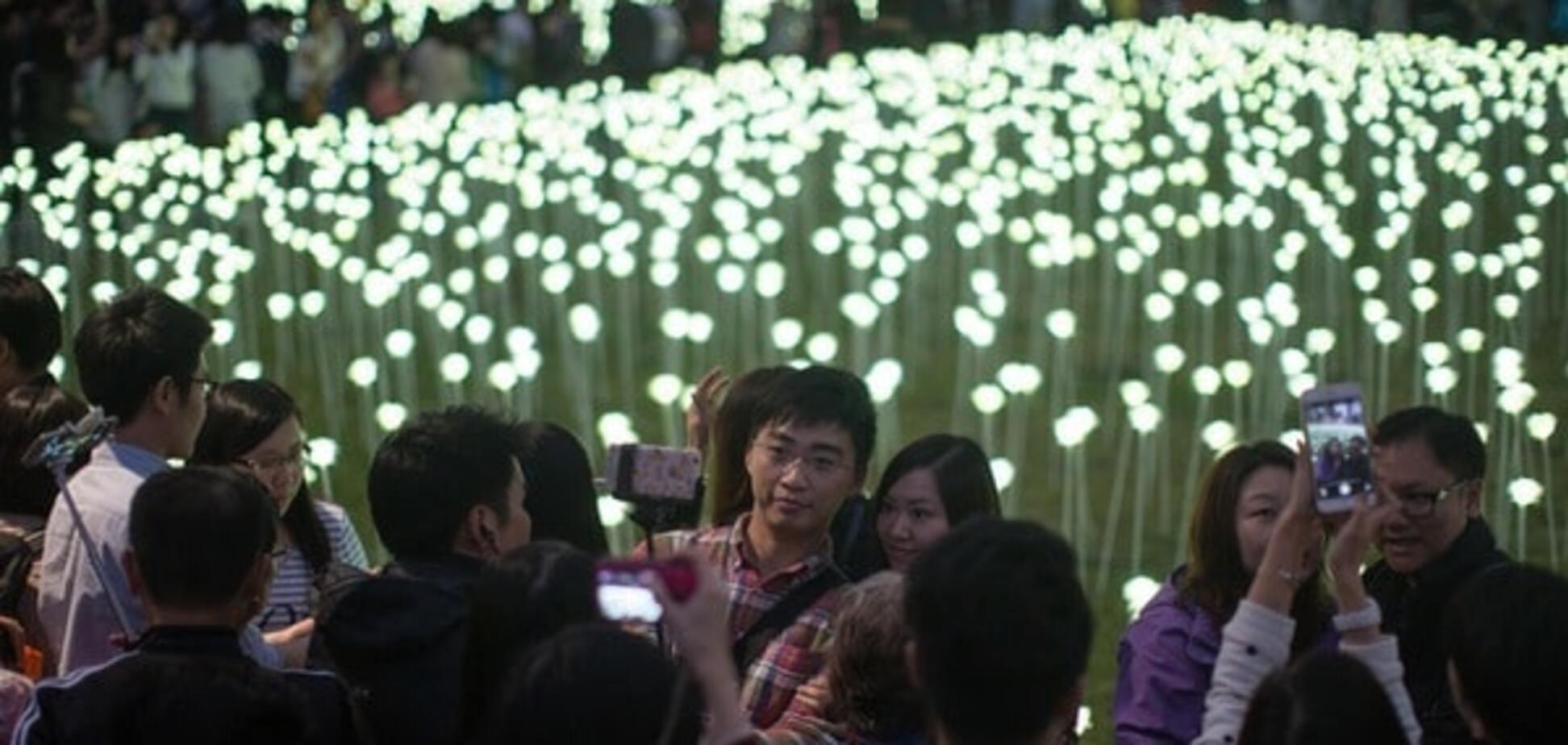 Джерело: Розарий из светящихся цветов в Гонконге