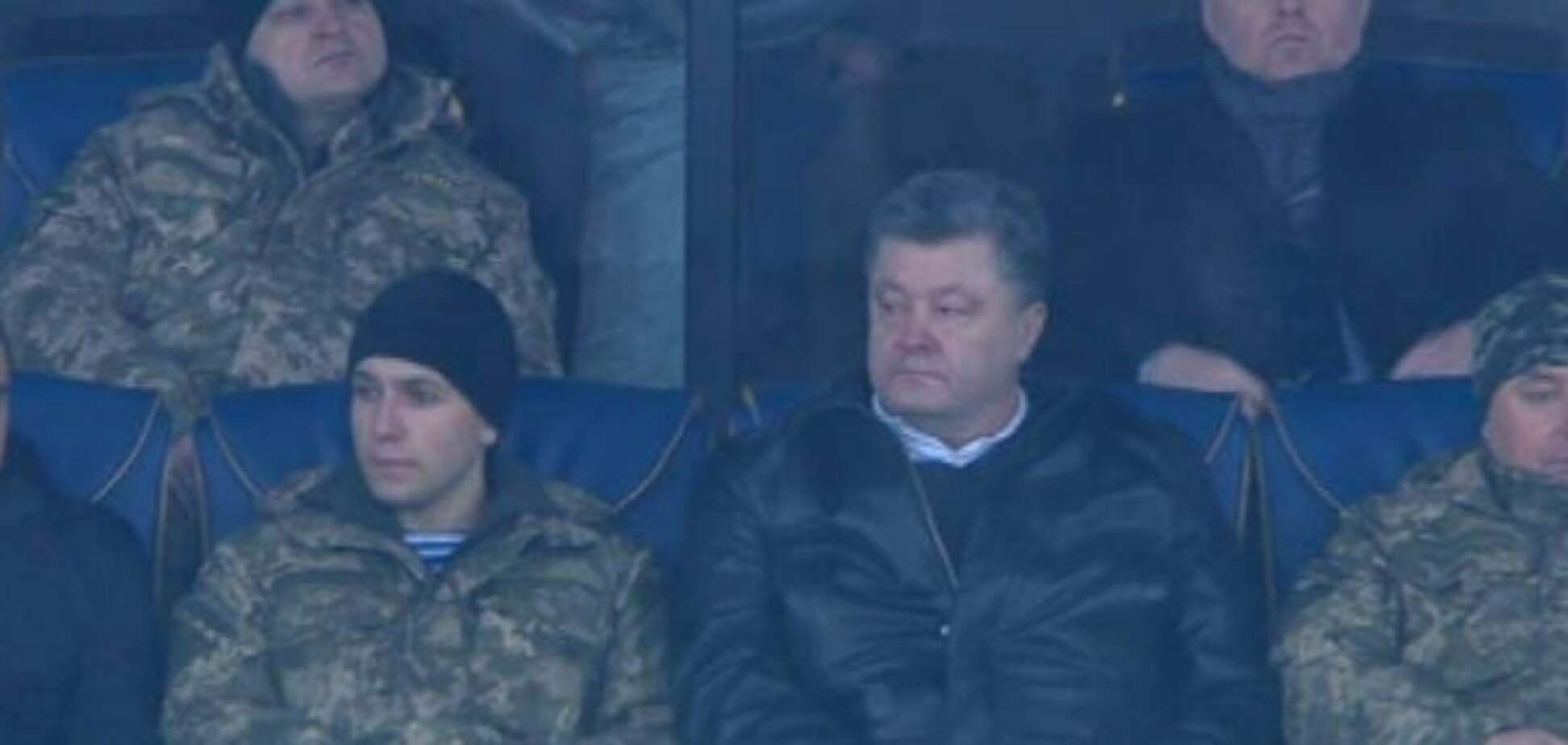 Порошенко с бойцами АТО посетил матч 'Динамо' - 'Манчестер Сити': фотофакт