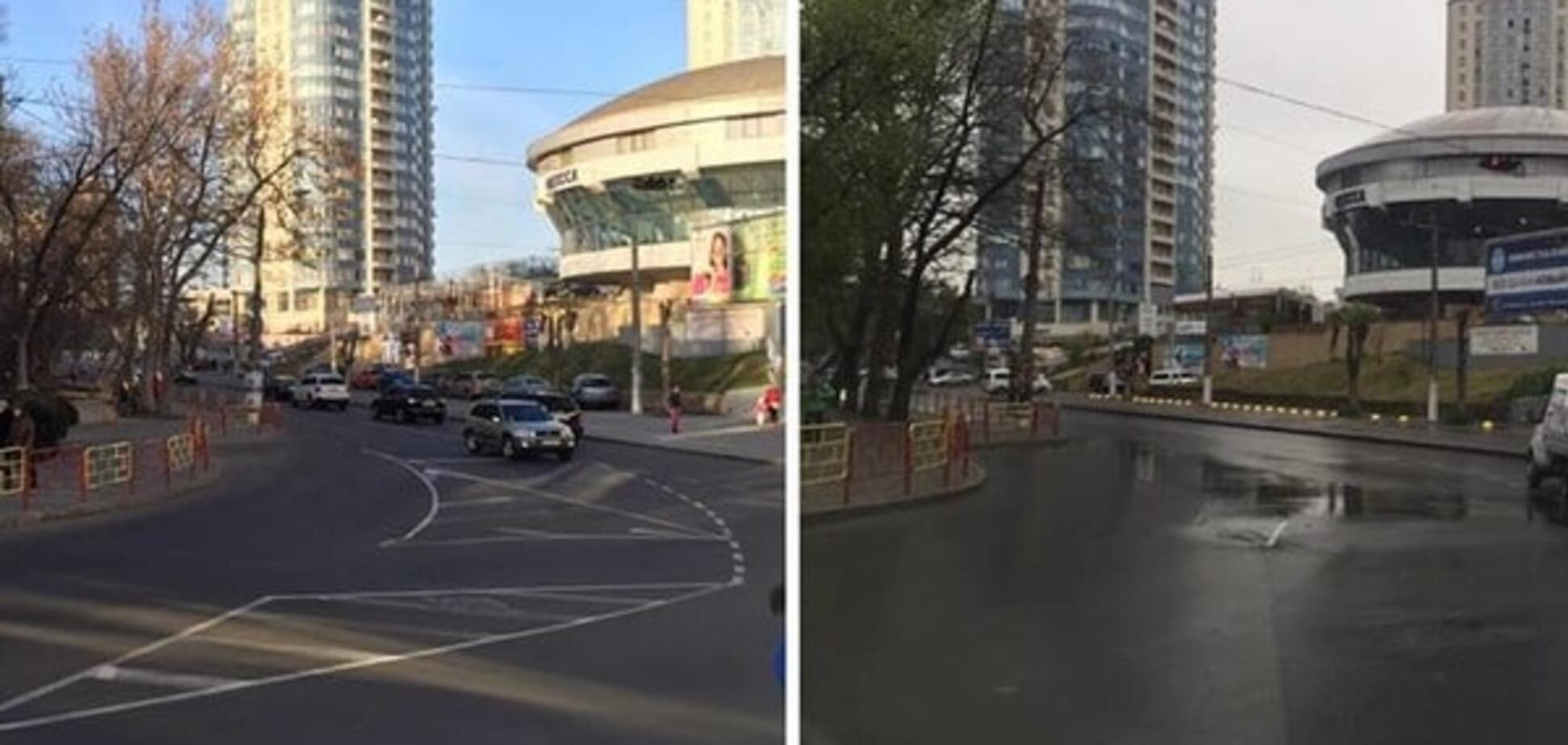 Намальована крейдою: після дощу в Одесі на дорозі зникла розмітка. Фотофакт