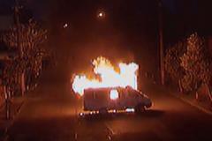 Мятежники сожгли автомобиль в Ереване