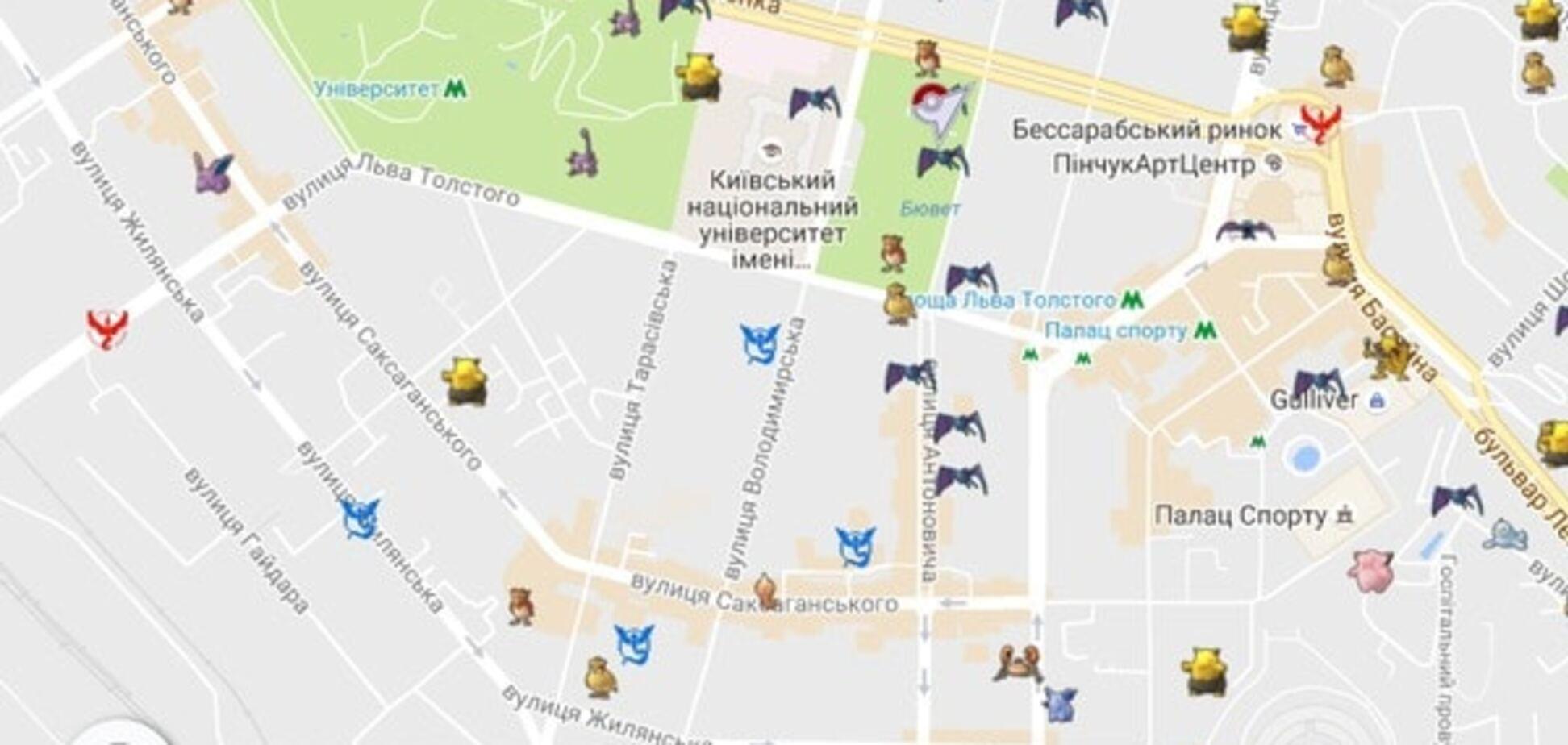 Карта покемонов в Киеве