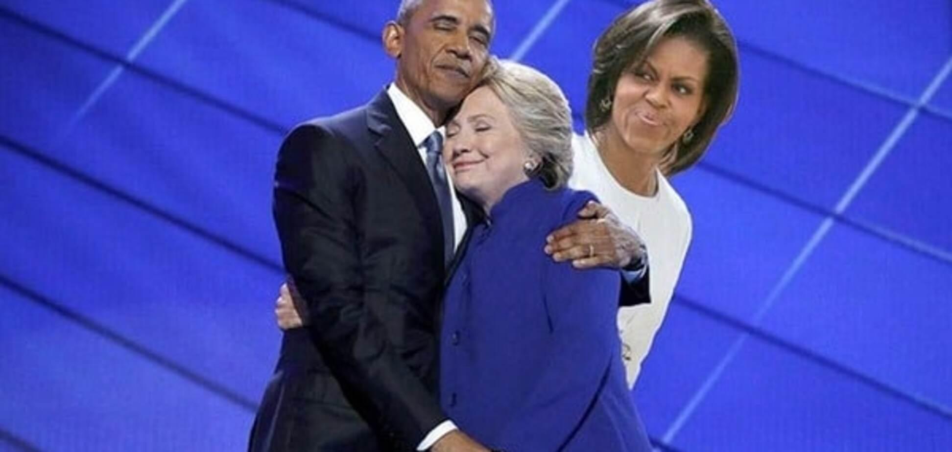 Объятия Барака Обамы и Хилари Клинтон