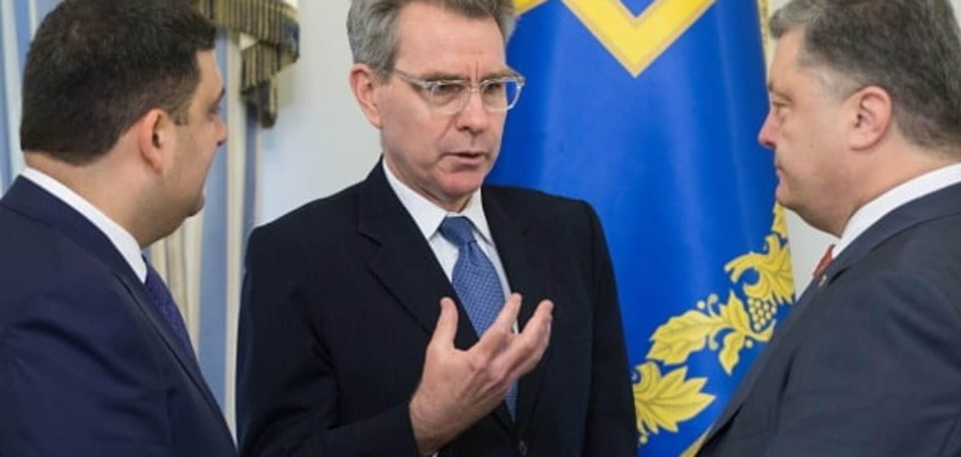 Владимир Гройсман, Джеффри Пайетт и Петр Порошенко