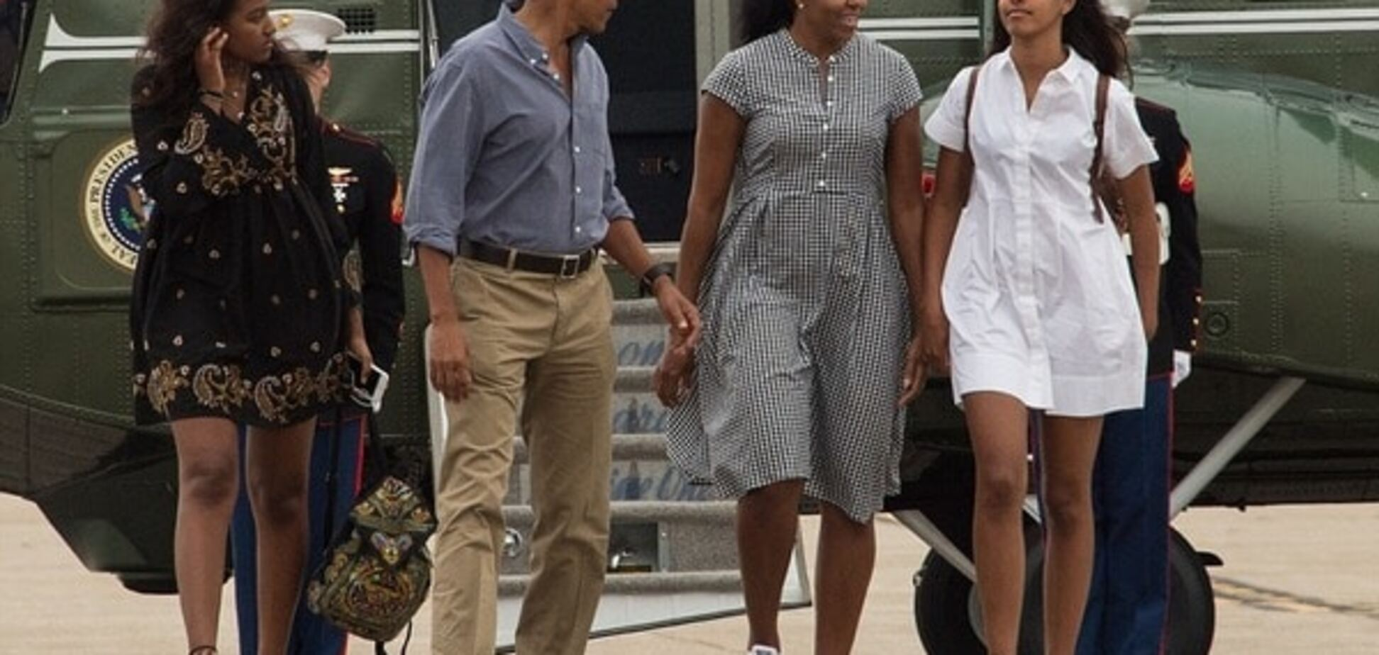 Саша, Барак, Мишель и Малия Обама