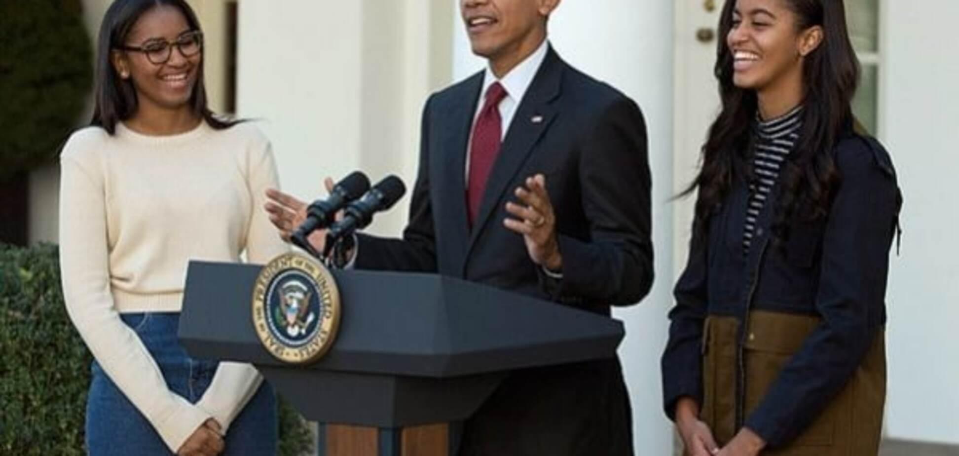 Барак Обама с дочками