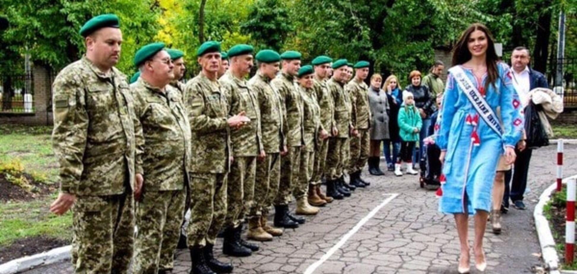 \'Мисс Украина Вселенная\'-2016 Алена Сподынюк посетила прифронтовой Краматорск