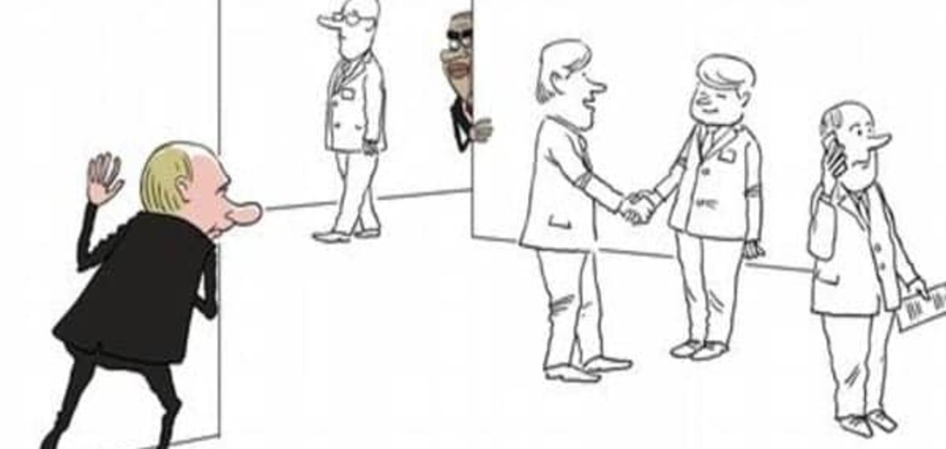 Гра в хованки на 'Великій двадцятці': карикатурист висміяв зустріч Путіна і Обами