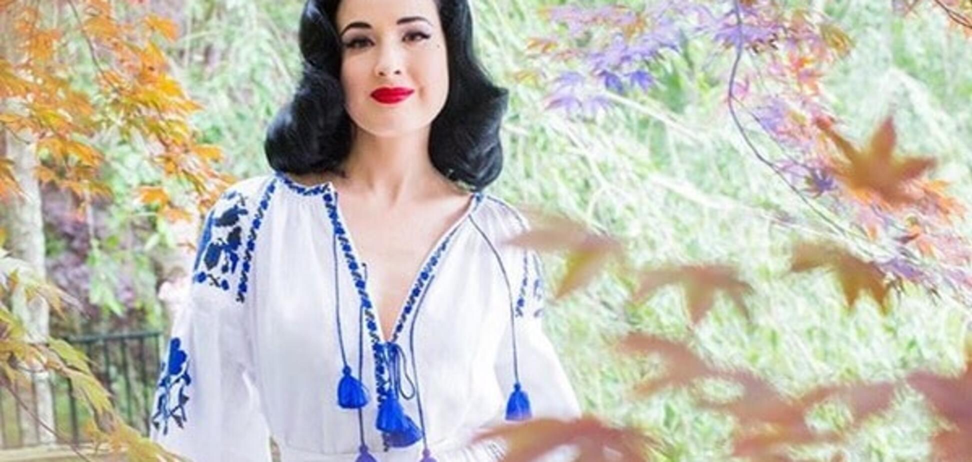Дита фон Тиз покрасовалась в еще одной вышиванке от украинского дизайнера: опубликованы фото