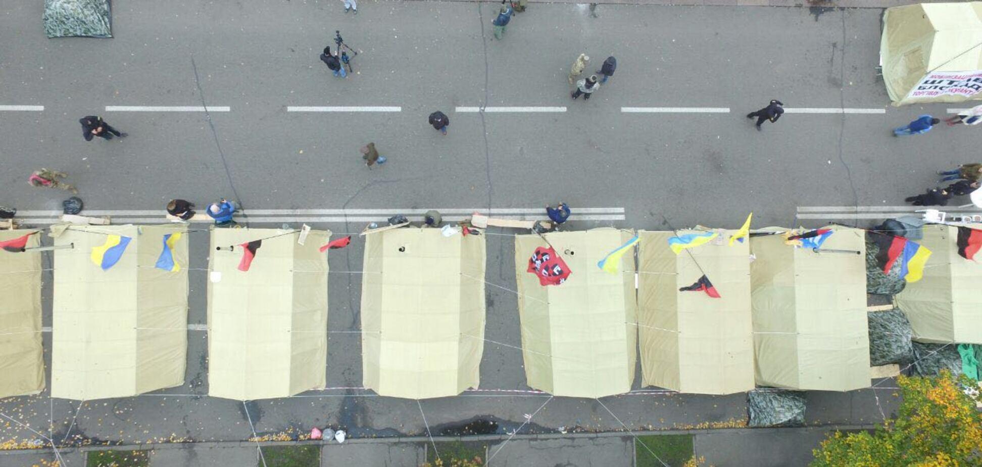 Все разбежались? Опубликованы фото митинга под Радой, снятые с дрона