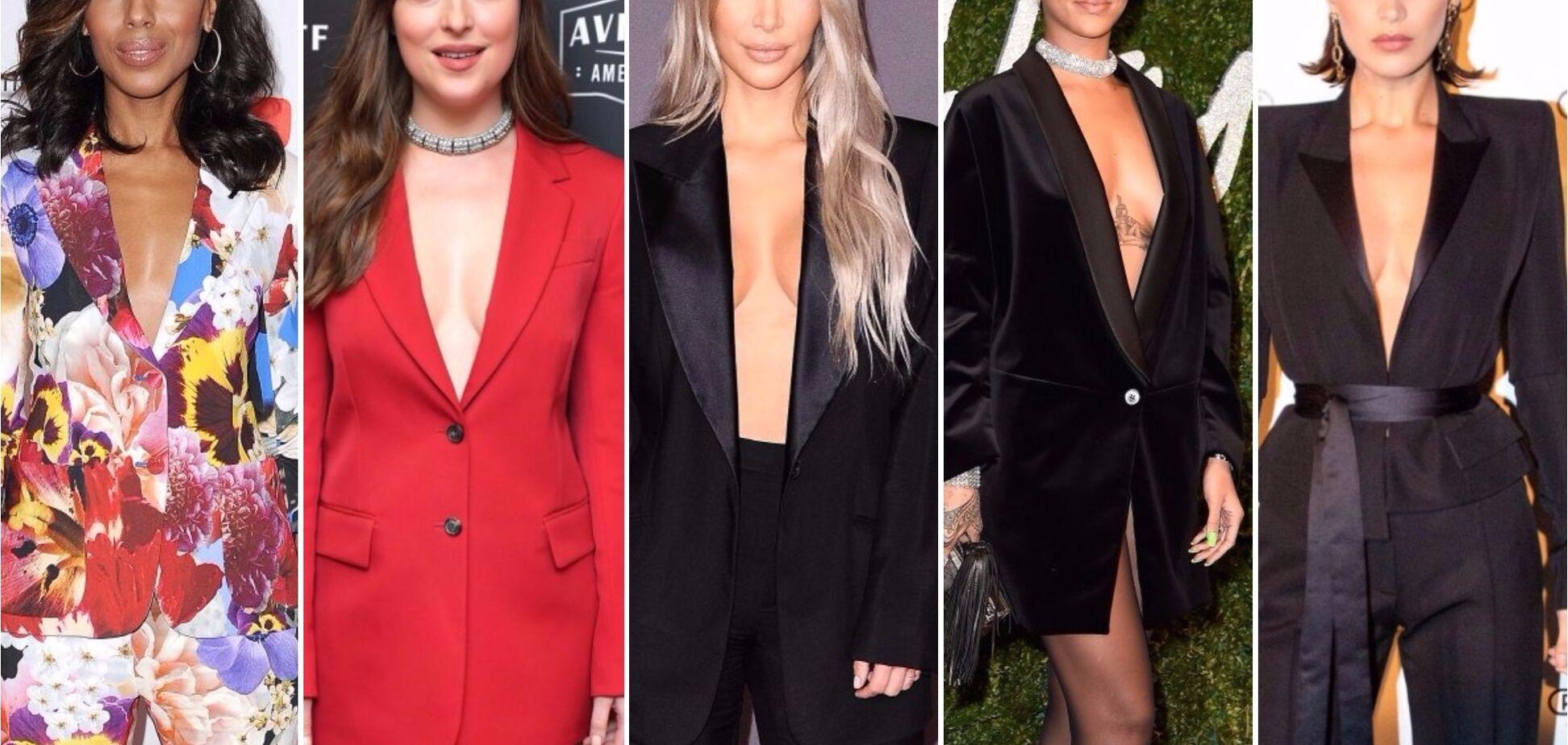 Пиджак на голое тело: топ-5 знаменитостей, блеснувших бюстом