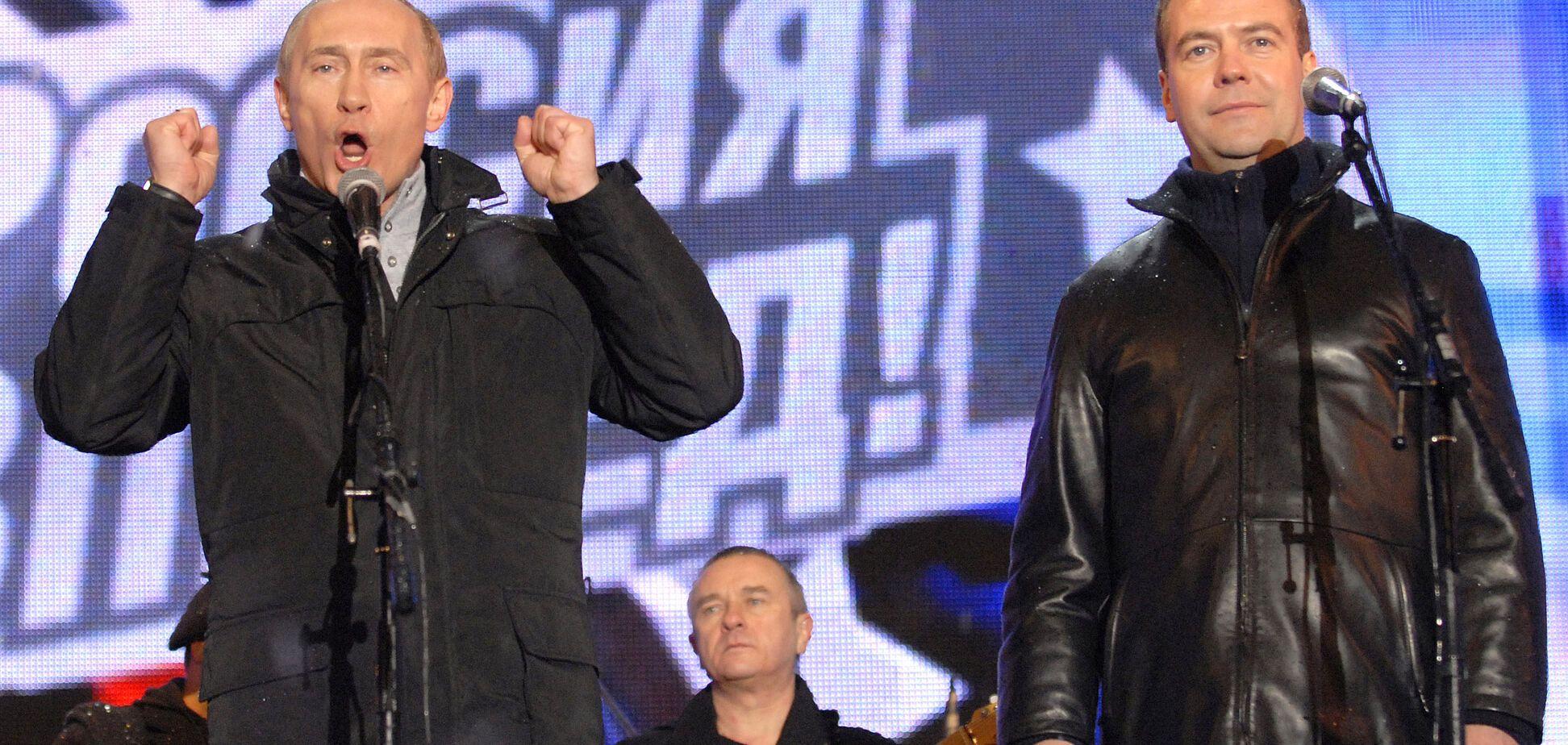 'Отвратительные рожи': в сети высмеяли крымский портрет Путина и Медведева