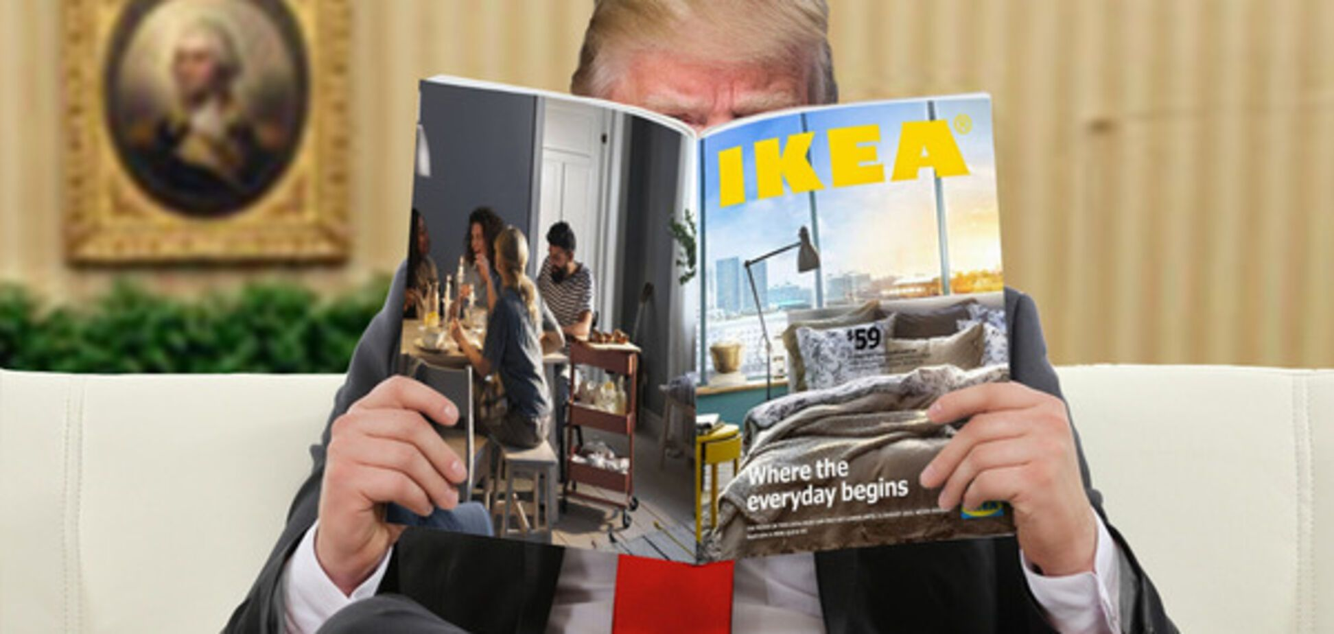 Дональд Трамп с журналом IKEA