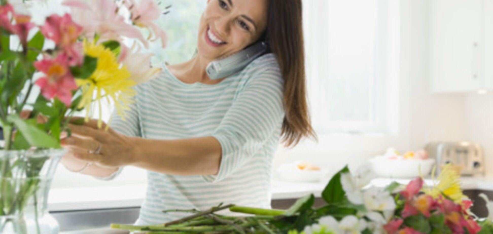 женщина цветы