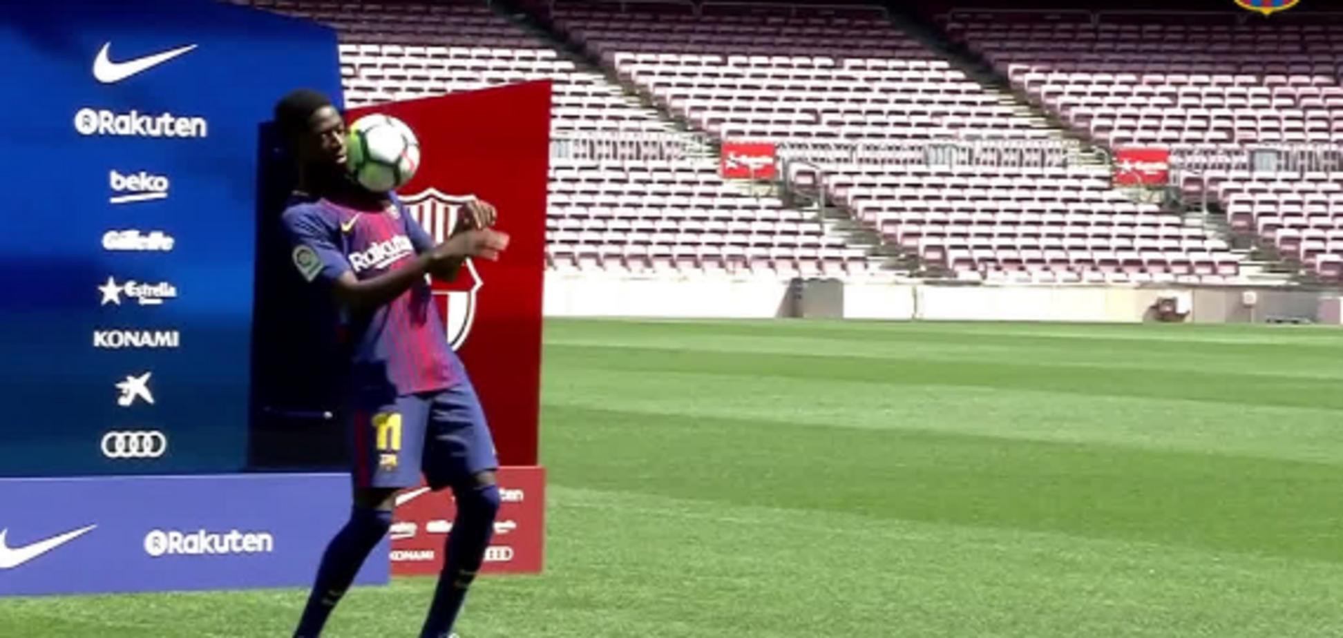 Зоряний новачок 'Барселони' за 105 млн євро двічі оконфузився на презентації, розсмішивши уболівальників: відео ганьби