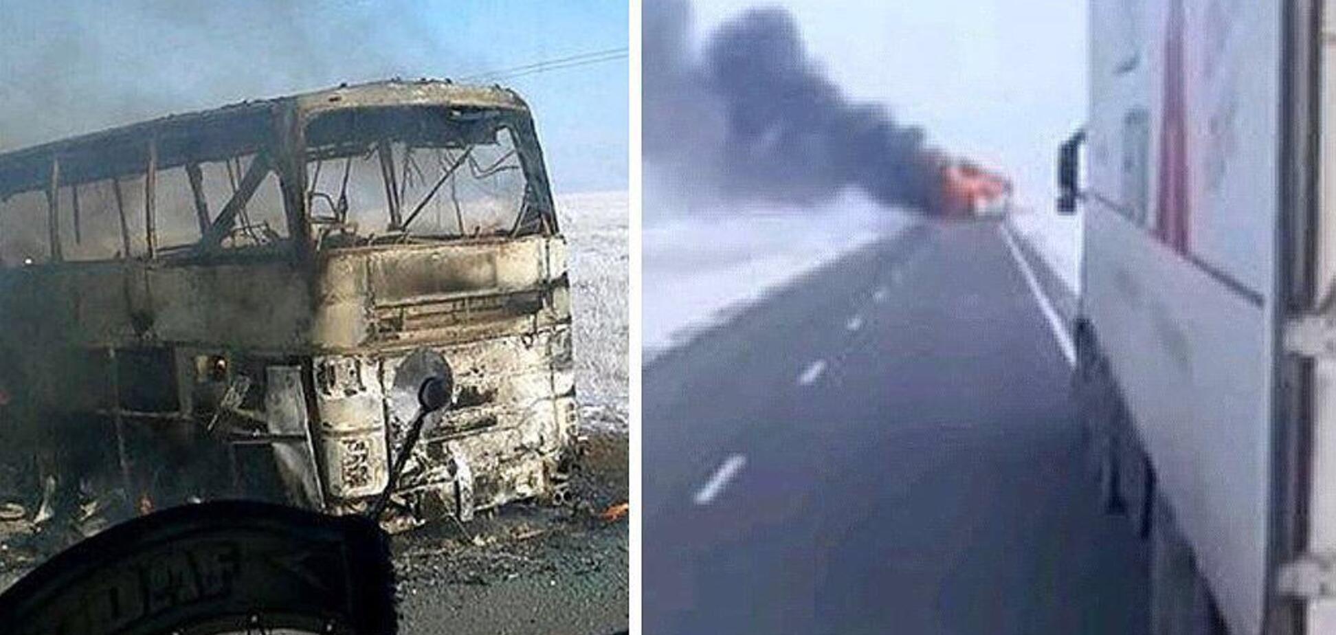 Фото пожар автобус Казахстан