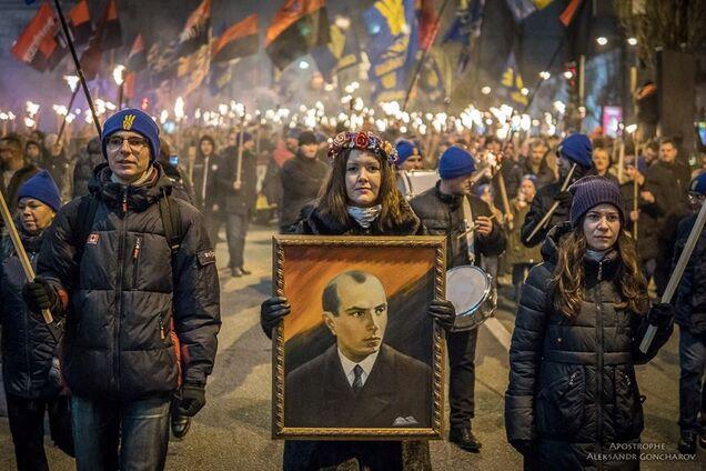 Факельное шествие в Киеве 1 января 2018 года