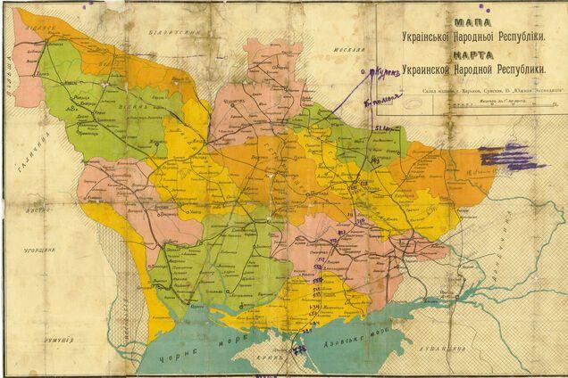 Карта Украины с границами УНР 1918 года