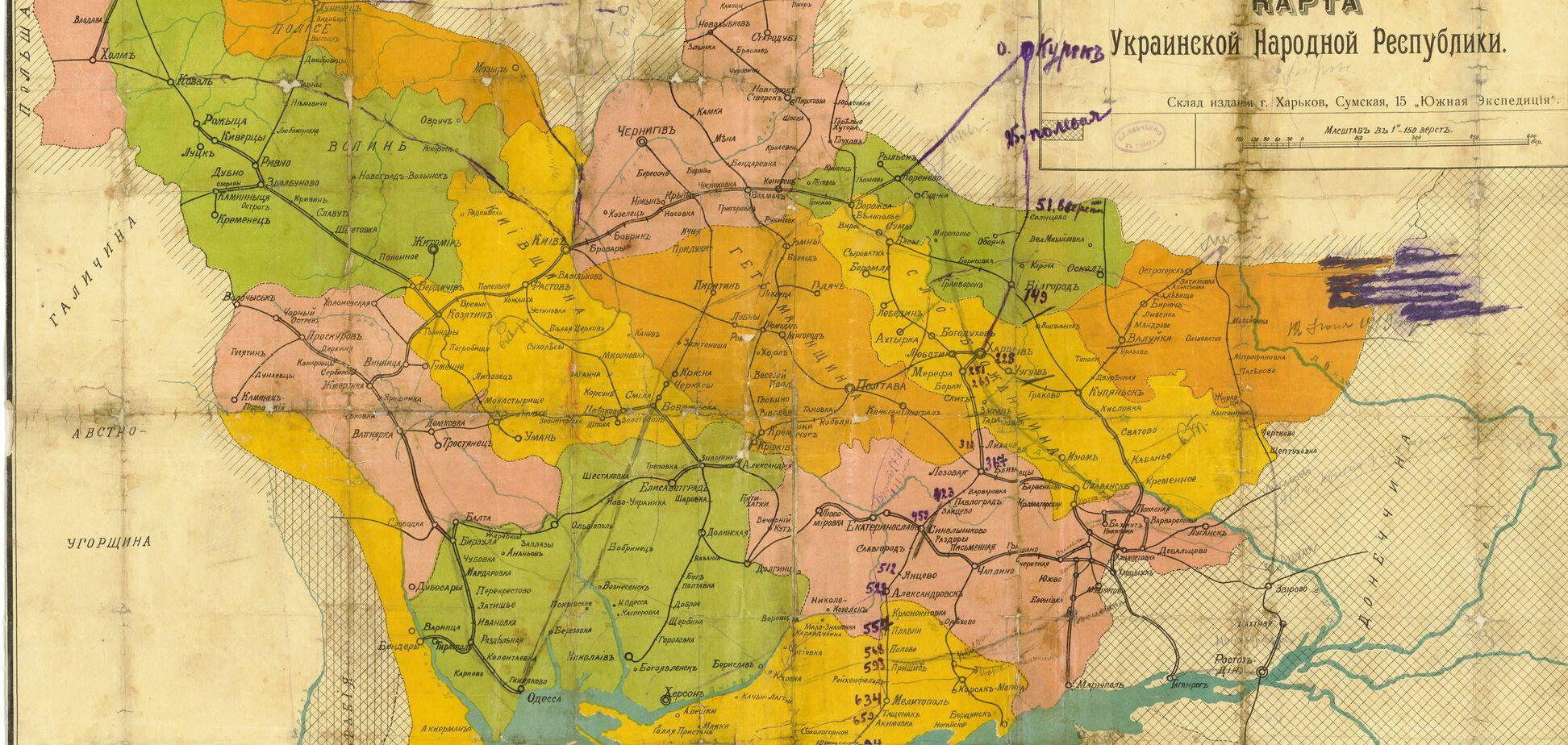 Карта Украины с границами УНР 1918 года. Источник: Таємна Січ