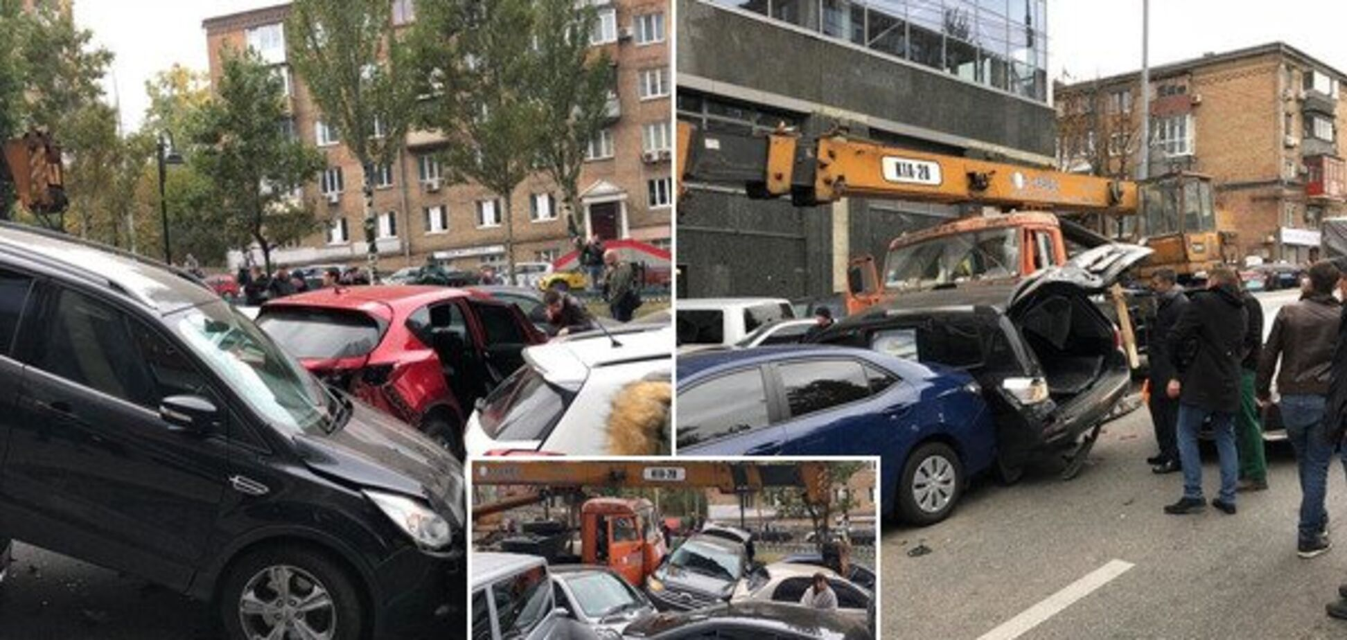 В центре Киева КамАЗ без тормозов снес 20 авто: фото и видео масштабного ДТП