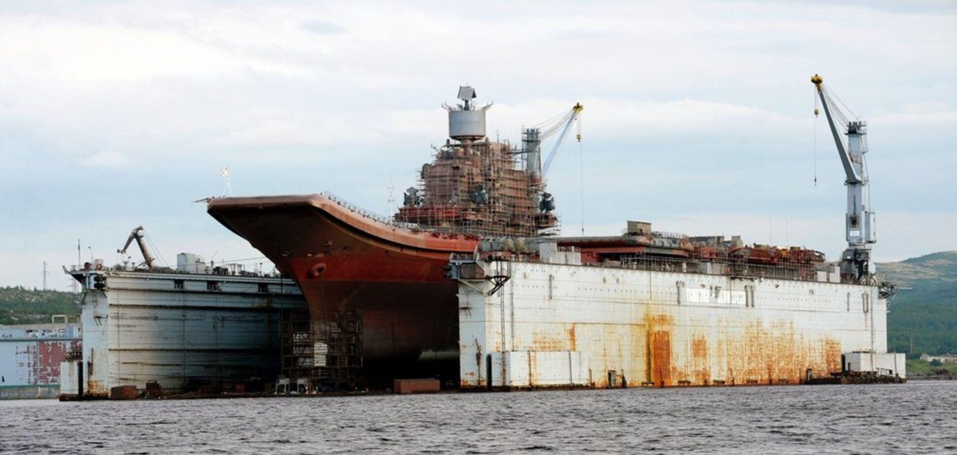 ''Дыра 4 на 5 метров'': стали известны масштабы повреждений путинского авианосца