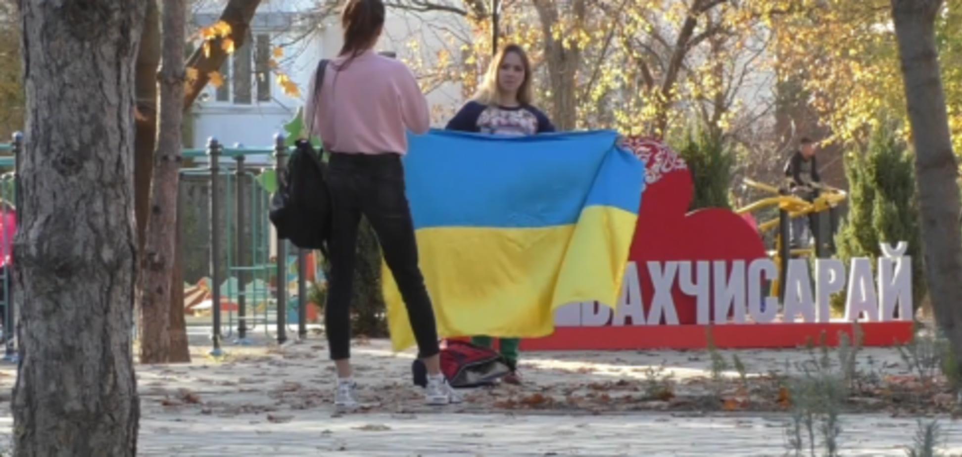 Российская пропагандистка пострадала в Крыму за украинский флаг
