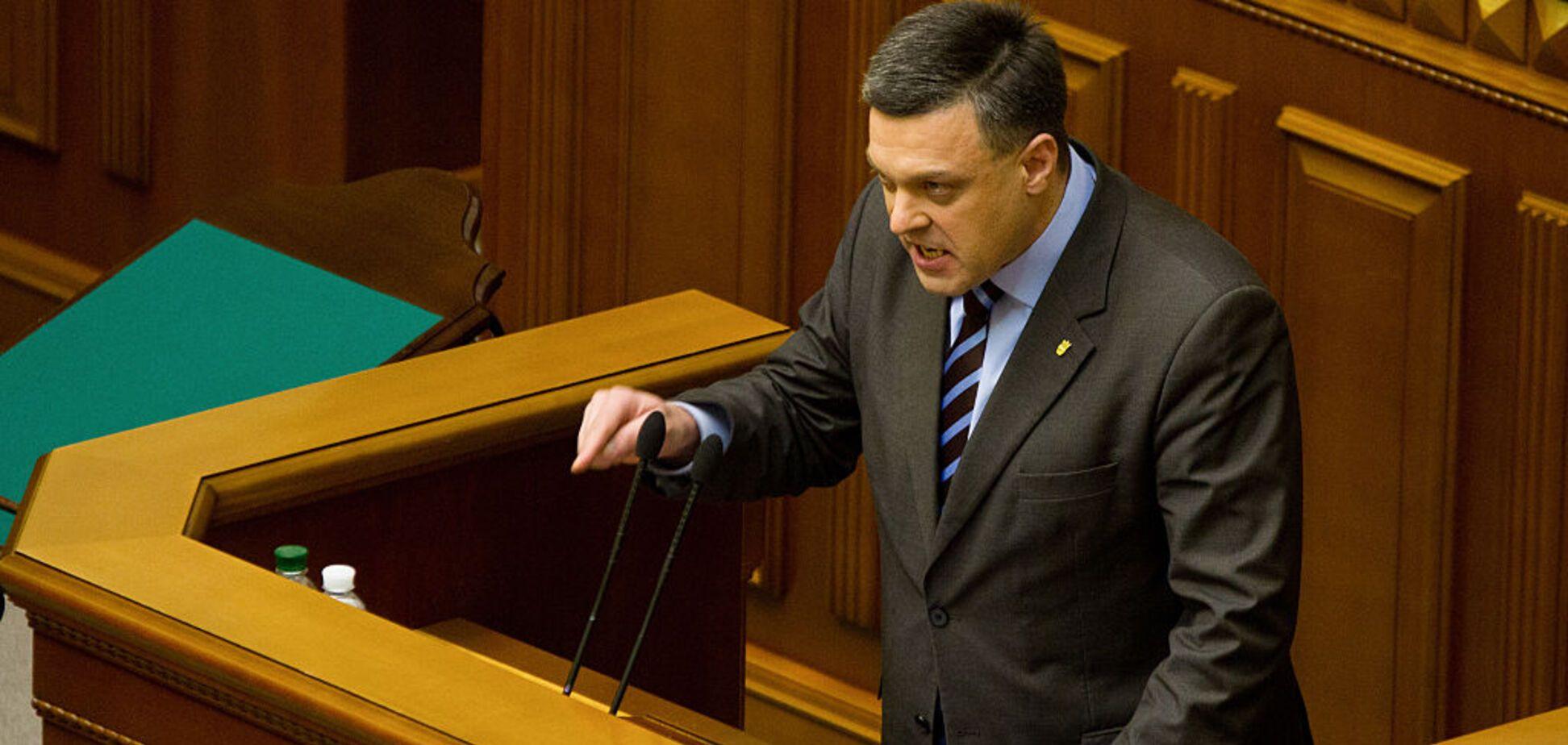 'Вы сейчас будете врать': на украинском ТВ поругались из-за Тягнибока