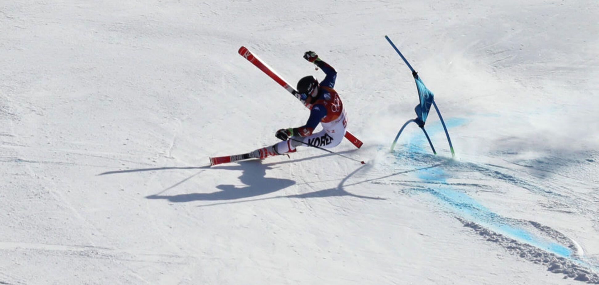 Олімпіада-2018: корейський гірськолижник на шаленій швидкості вилетів із траси, збивши знімальну групу
