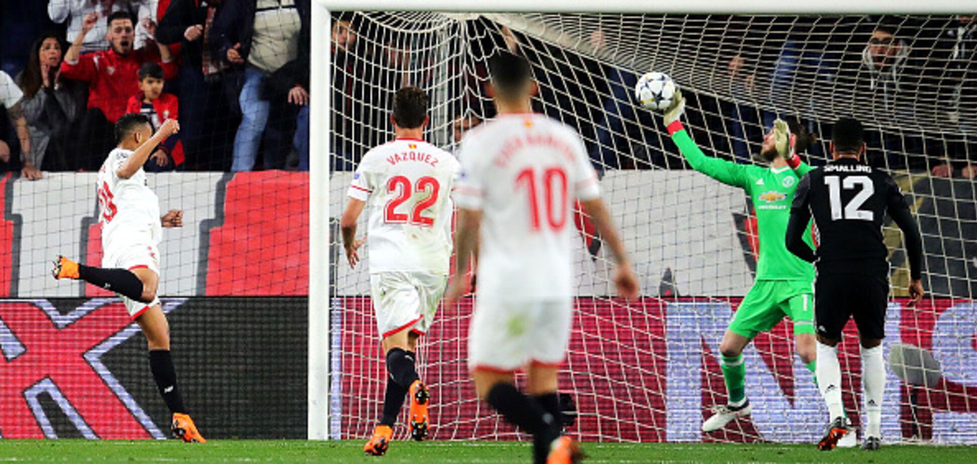 Вратарь 'Манчестер Юнайтед' совершил в матче Лиги чемпионов сумасшедший сейв, лишающий дара речи: видеофакт