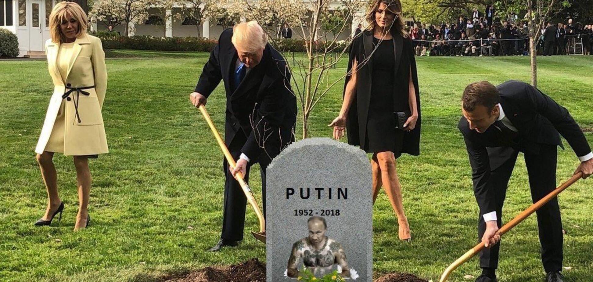 Прикопали под дубом: в Канаде 'похоронили' Путина, сеть в восторге