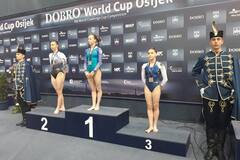 Украинская гимнастка взяла три 'золота' на Кубке мира