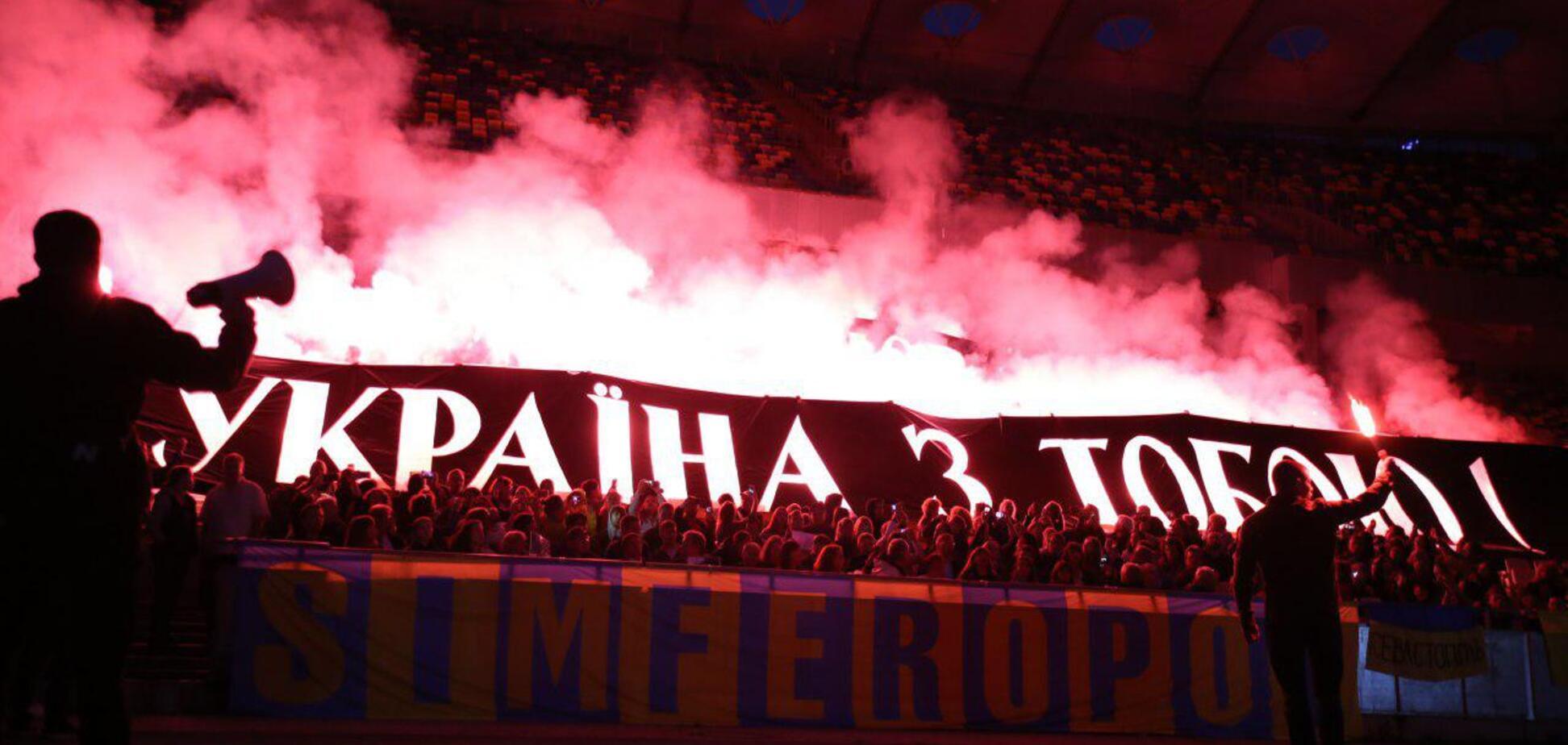 'Свободу Сенцову': на 'Олімпійському' влаштували вогняне шоу