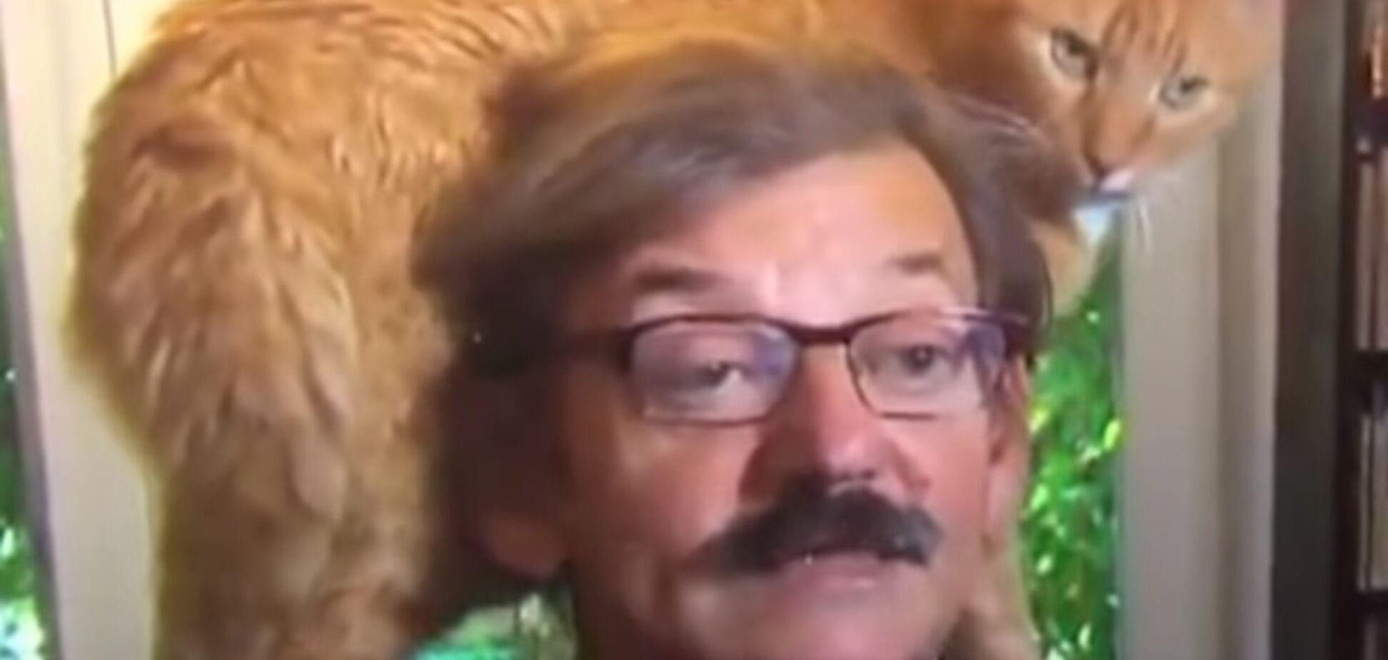 Кот стал звездой интервью с историком: видео стало вирусным в сети