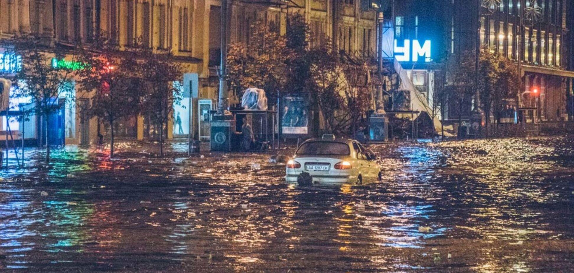 Потоп після бурі на Хрещатику: озвучено несподівану причину