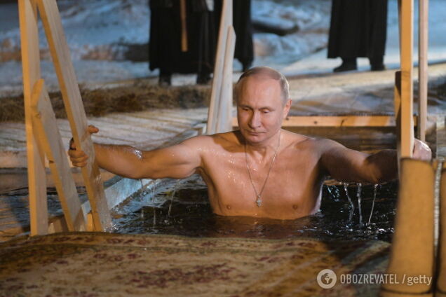 Володимир Путін на Хрещення в 2018 році