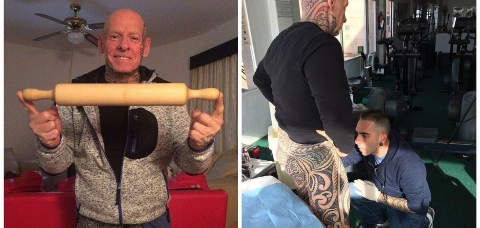 Бодибилдер намотал пенис на скалку, чтобы сделать тату — видео 18+