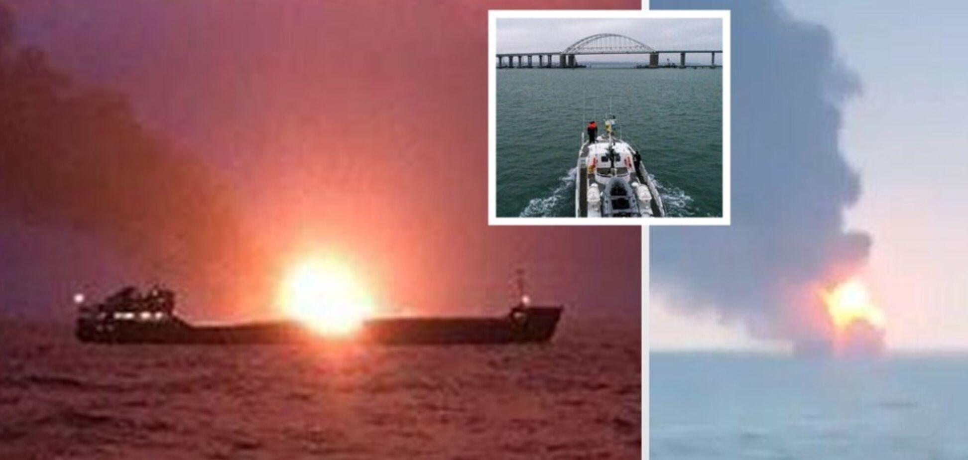 Люди прыгали за борт: у Керченского пролива загорелись два судна, погибли 10 человек