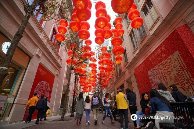 Красные фонарики на улицах Китая