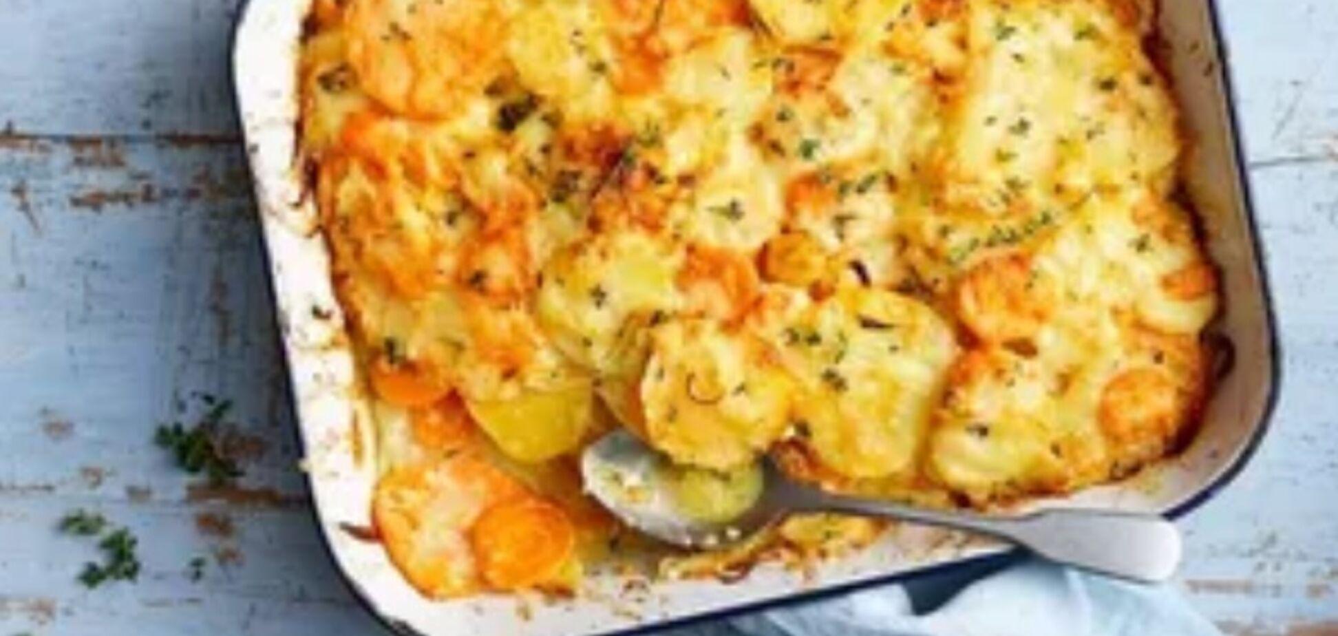 Рецепт очень вкусной картошки с овощами в духовке слоями