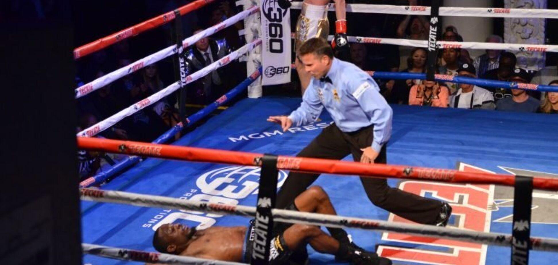 Украинский боксер брутальным нокаутом выиграл чемпионский бой в США
