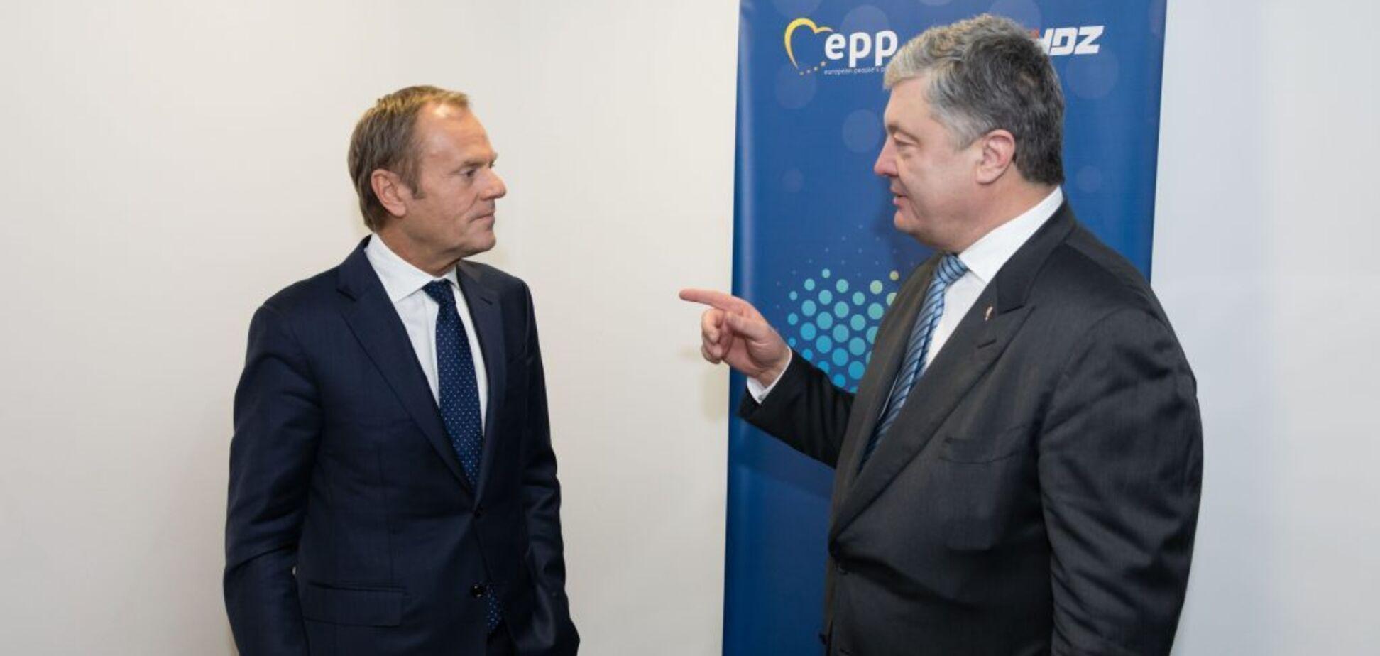 'Має виконати Мінські угоди!' Порошенко з Туском обговорили санкції проти Росії