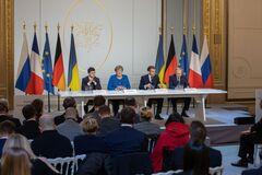 Володимир Зеленський, Ангела Меркель, Еммануель Макрон, Володимир Путін