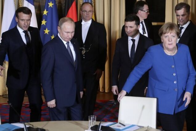 Ангела Меркель, Володимир Зеленський, Еммануель Макрон і Володимир Путін