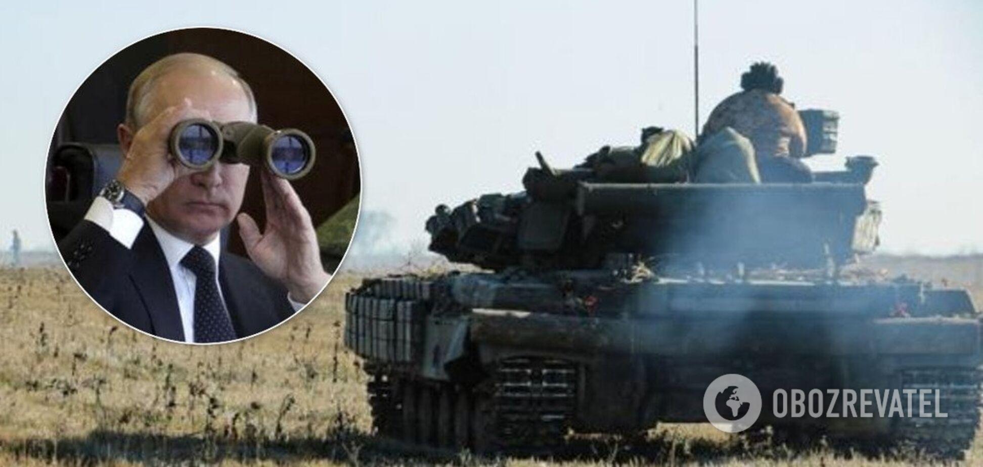 Володимир Путін, бінокль, танк