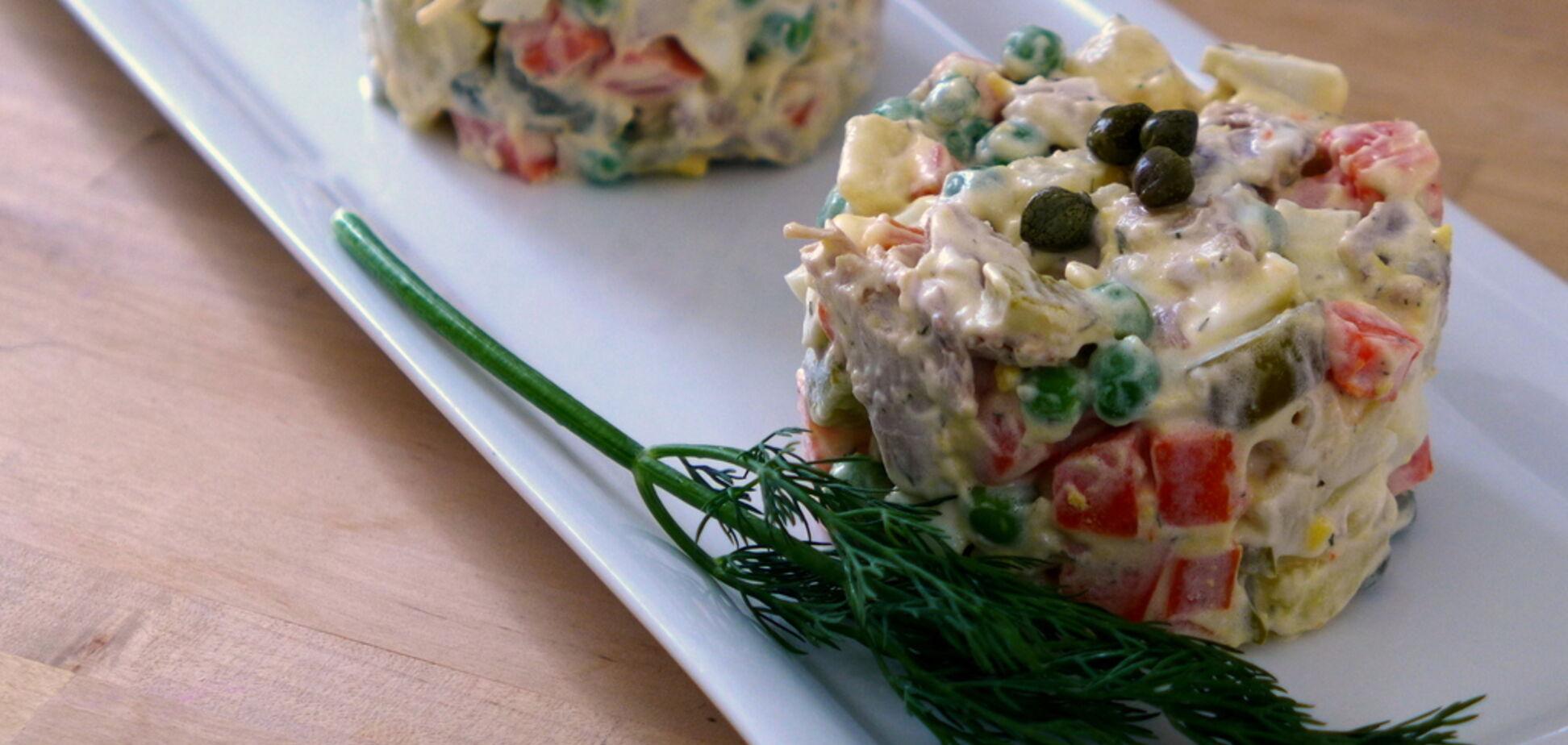 Рецепт полезного салата оливье