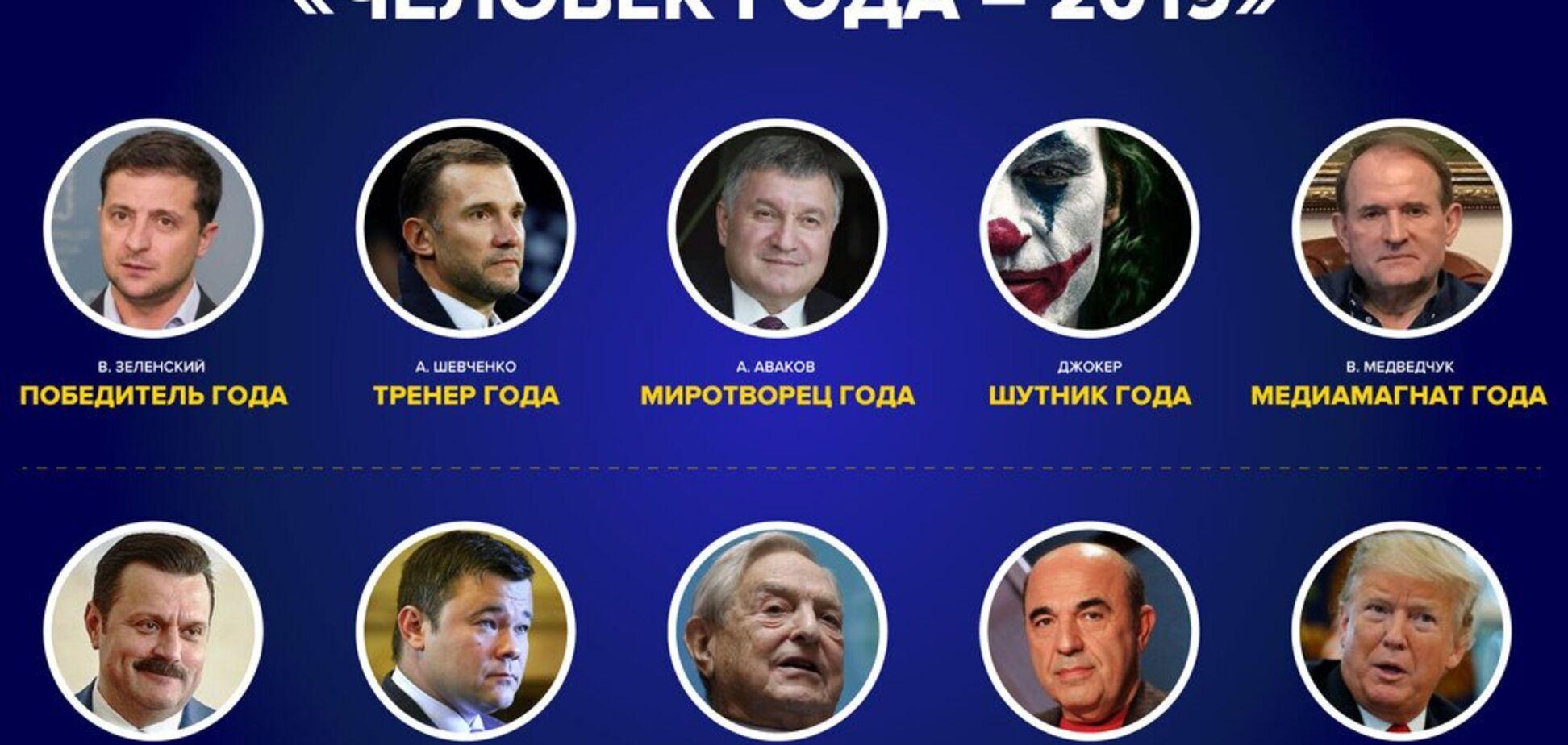 Зеленский, Шевченко и Рабинович вошли в национальный рейтинг 'Человек года – 2019'