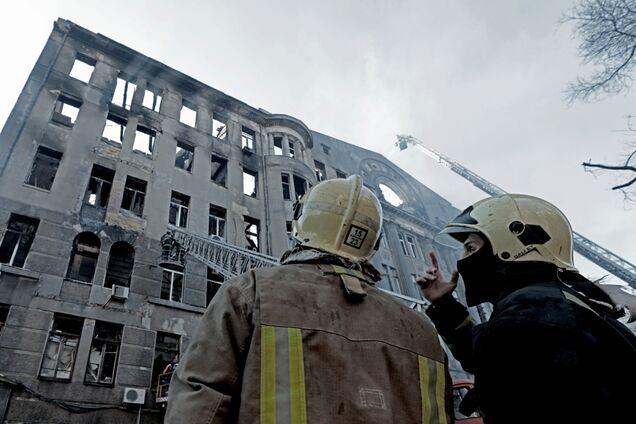 Сгоревший колледж в Одессе
