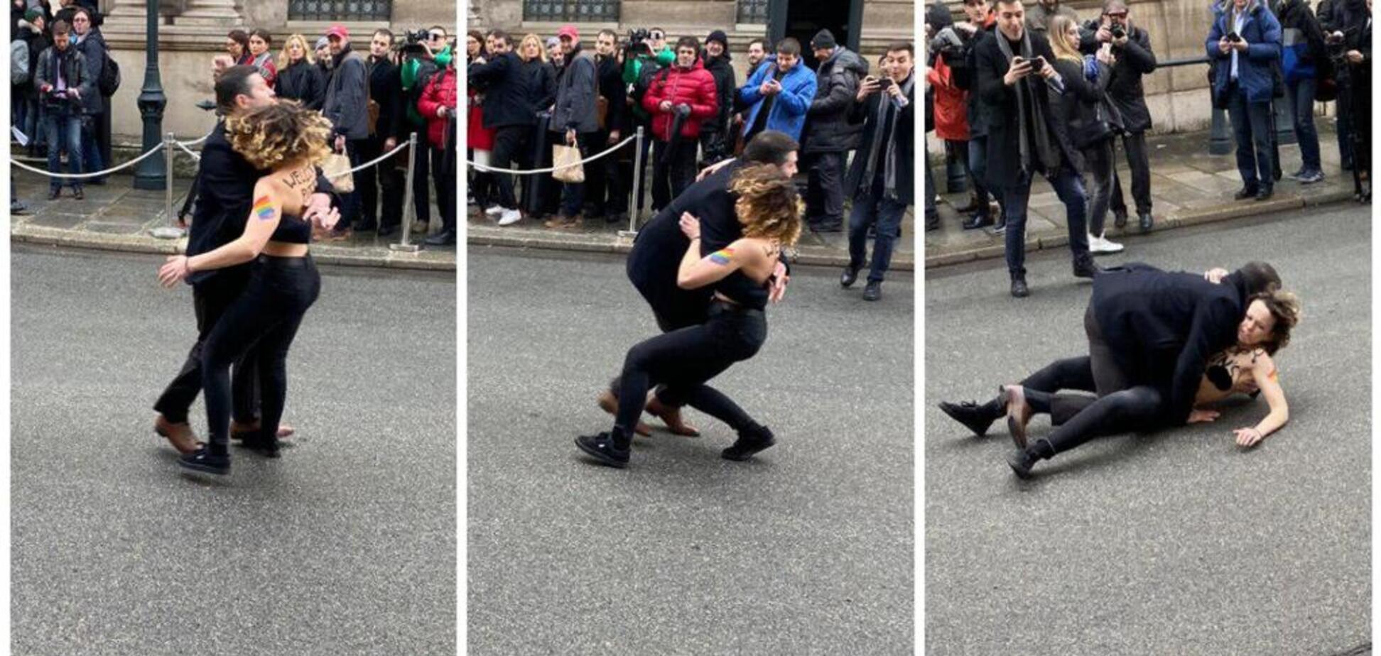 Stop Putin's war! Голые Femen прорвались через полицию в Париже