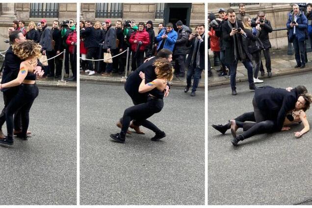 Stop Putin's war! Голі Femen прорвалися через поліцію в Парижі