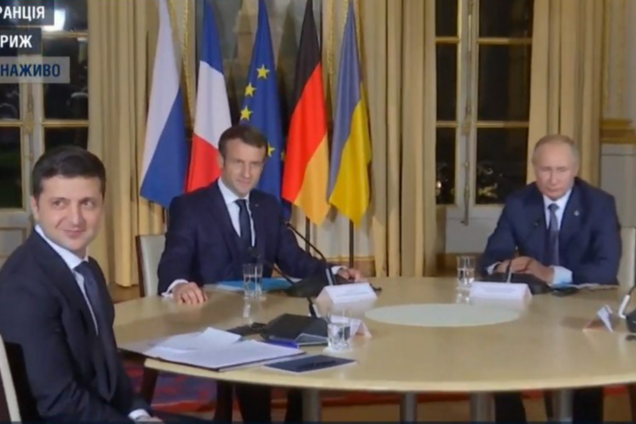 Зеленский, Макрон, Путин и Меркель